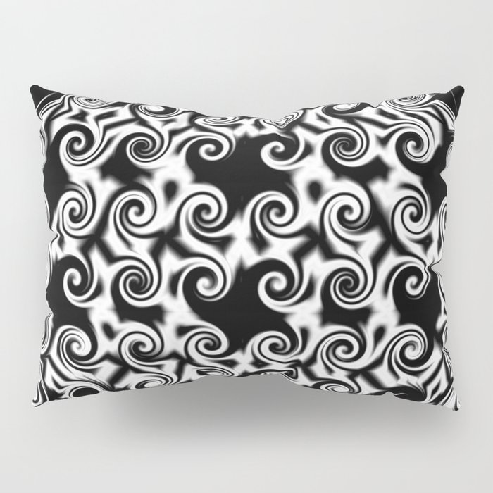 Curlicues Pentagon Black and White Pattern Pillow Sham