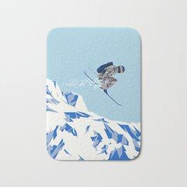 Airborn Skier Flying Down the Ski Slopes Badematte
