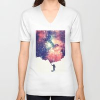 galaxy V-neck T-shirts featuring Painting the universe by badbugs_art