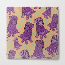 Purple pastel pop art puppies Metal Print