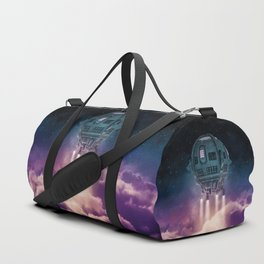 Out of the atmosphere / 3D render of spaceship rising above clouds Duffle Bag