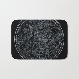 Constellations of Northern Hemisphere | White Ink on Black Archival Paper Bath Mat