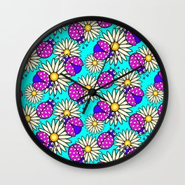 bunga matahari serangga flower floral animals purple yellow blue pink Wall Clock