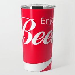 Enjoy Beer - Funny Vintage Cola Advertisement Parody Spoof - Red Round Reto Logo Travel Mug