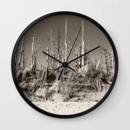 Dead Trees On The Beach Wall Clock