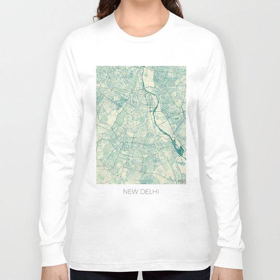 Delhi Map Blue Vintage Long Sleeve T-shirt