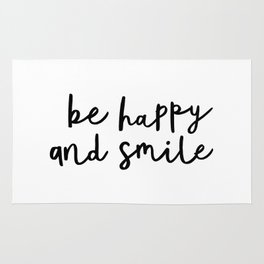 Be Happy and Smile black and white monochrome typography poster design home wall bedroom decor Rug