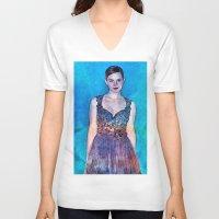 emma stone V-neck T-shirts featuring Emma Watson - Blue by André Joseph Martin