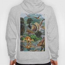 Jurassic dinosaurs drink in the river Hoody