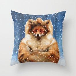 Fox frozen Throw Pillow