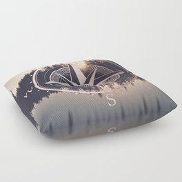 Rose Gold Compass Forest Floor Pillow