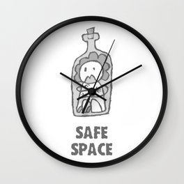 Safe Space  - Woman - With text Wall Clock