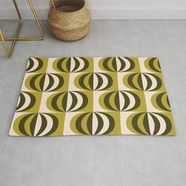 Mid century black & white striped ovals pattern olive green Rug