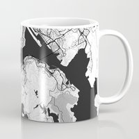 hong kong Mugs featuring Hong Kong Map Gray by City Art Posters