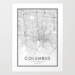 Columbus City Map United States White and Black Art Print
