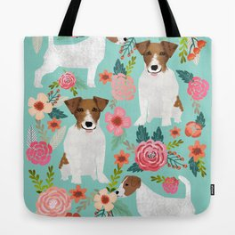Jack Russell Floral Dog Print - jack russell art, jack russells, jack russell floral Tote Bag