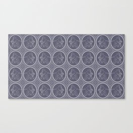 Grisaille Charcoal Blue Grey Neo-Classical Ovals Canvas Print
