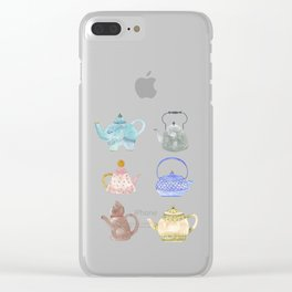 Waterclor Teapot Collection Clear iPhone Case