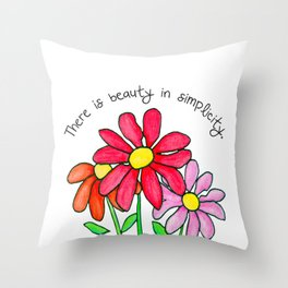 Simplistic Daisies in Reds Throw Pillow