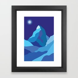 Icy winter Matterhorn mountain in blue colors Framed Art Print