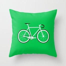 Green Fixed Gear Road Bike Throw Pillow