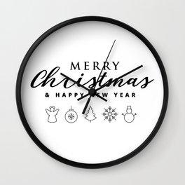 Merry Christmas Icons Wall Clock
