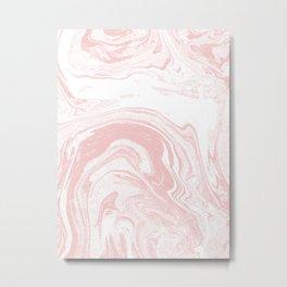 Marble pastel pink 1 Suminagashi watercolor pattern art pisces water wave ocean minimal design Metal Print