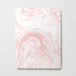 Marble pastel pink 1 Suminagashi watercolor pattern art pisces water wave ocean minimal design Metal Print