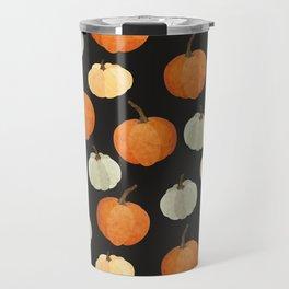 Orange yellow gray black watercolor pumpkin pattern Travel Mug