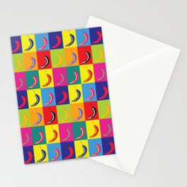 Retro Pop Art Chilli Peppers on Colourful Squares Stationery Cards