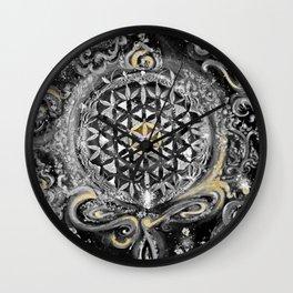 Manipura°^Golden Waves in Snowy Space Wall Clock