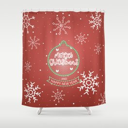 New Year Christmas winter holidays cute outline pattern Shower Curtain