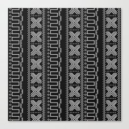 Black and Gray Modern Mudcloth Faux Stitches Print Canvas Print