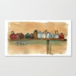 tea pots on the shelf Canvas Print