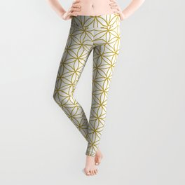 Flower of Life Pattern – Gold & White Leggings