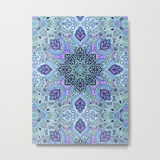 Navy Blue, Mint and Purple Boho Pattern  Metal Print