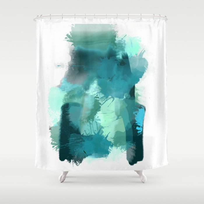 Abstract Jade Color Story Shower Curtain