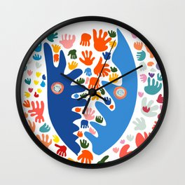 Two Blue Faces Abstract Joyful Pattern Art Decoration Emmanuel Signorino Wall Clock
