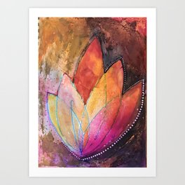 Lotus Dreaming in Colour and Dots Art Print