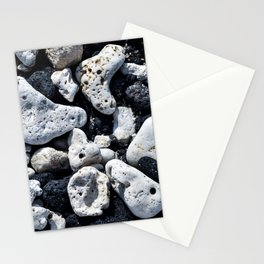 Black and White Rocks Mixed with Lava Rocks in Hawaii Stationery Cards