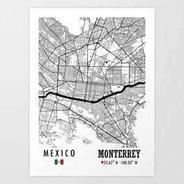 Monterrey, MEXICO Road Map Art - Earth Tones Art Print