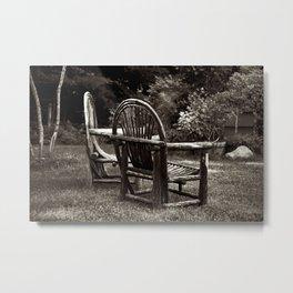 Old Adirondack Cedar Chairs Metal Print