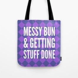 Messy Bun & Getting Stuff Done (Purple Checkered Pattern) Tote Bag