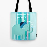 dr seuss Tote Bags featuring Dr. Seuss Quote by Laura Santeler