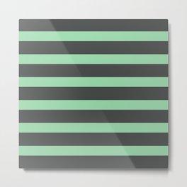 Pastel Green Stripes on Gray Background Metal Print