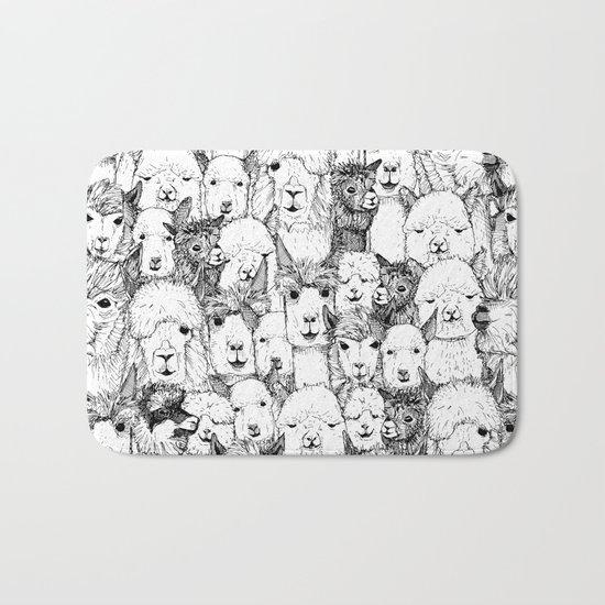 just alpacas black white Bath Mat