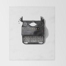 Typewriter (Black and White) Throw Blanket