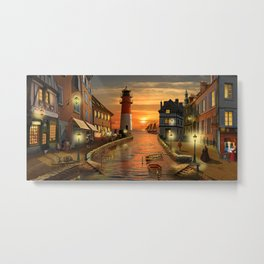 Nostalgic Harbor In The Sunset Metal Print