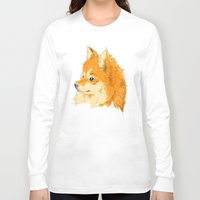 pomeranian Long Sleeve T-shirts featuring Pomeranian by Det Tidkun