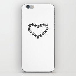 Paw Prints Heart iPhone Skin